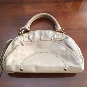 BULGA Karen Satchel Bag Cream Beige w/ Gold